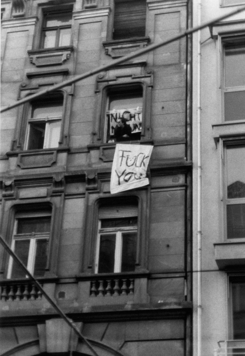 "The banner behind him reads ""Nicht mit uns""--""not with us."" Photo: Daniel Mufson."